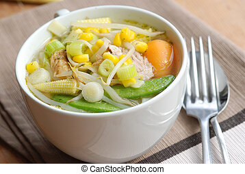 Chicken noodle soup - Chinese chicken noodle soup in a cup