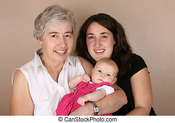 Generations - Mother, grandmother and baby girl. Three...