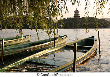 Boats on the West lake in China