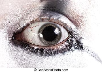 dilatado, ojo, alumnos, humano