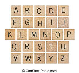 alfabeto, legno