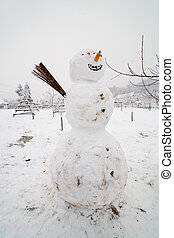 Big snow man - Winter landscape with a big snow man