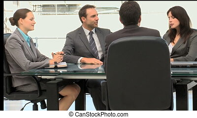 Business people working together during a meeting in an...