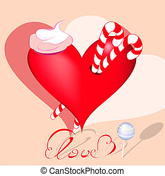 Decorative heart with sweets