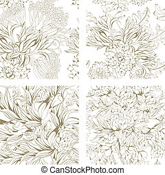 Set of seamless floral wallpaper