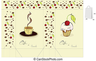 Coffee and sweets. Template for bag