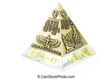 Egyptian Pyramid  - Brass Pyramid souvenir isolated on white