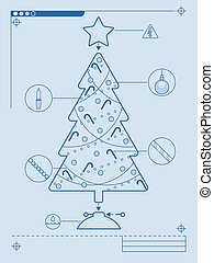 Christmas tree diagram - Blueprint style instructions for...