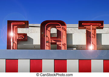 fat sign - red and white fat sign against blue sky