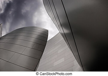 modern architecture - Modern curvy building with metal on a...