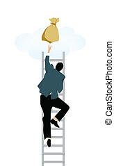 goal aim - Man climbing on step ladder to get money bags...