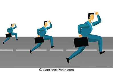 business competition - Three businessmen running on the road...