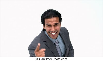 Businessman in front of the camera - Joyful businessman in...