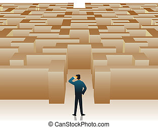 maze confusion - Businessman standing at the entrance of...