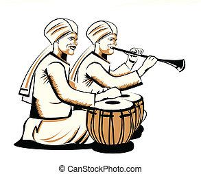indian musical performers - Two men playing musical...