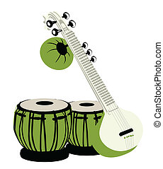 indian musical instruments - Tabla and sitar