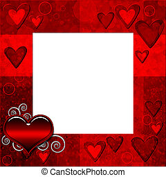 Red grange frame with hearts and butterfly for design - Red...