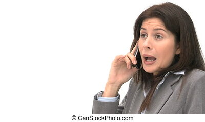 Angry businesswoman talking on the phone isolated on a white...