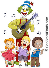 Children Singing - Illustration of Kids and a Clown Singing...