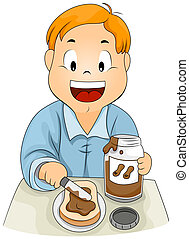 Peanut Butter - Illustration of a Kid Spreading Peanut...