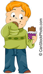 Chocolate Smear - Illustration of a Kid Smearing His Sweater...