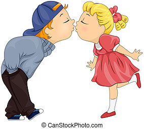 Kissing Kids - Illustration of a Boy and Girl About to Share...