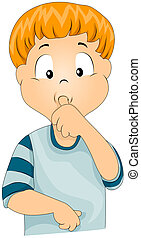 Thumbsucker - Illustration of a Kid Sucking His Thumb