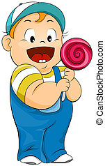Lollipop Kid - Illustration of a Kid Holding a Large...