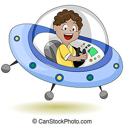 Flying Saucer - Illustration of a Little Kid Operating a...
