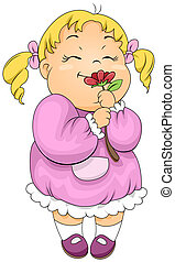 Girl Smelling a Flower - Illustration of a Little Girl...
