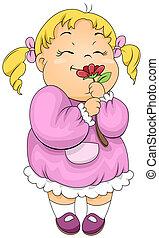 Girl Smelling a Flower - Illustration of a Little Girl...