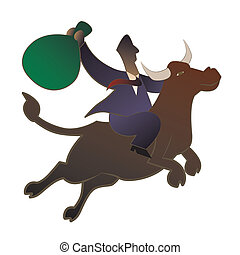 bull market - Businessman riding a bull