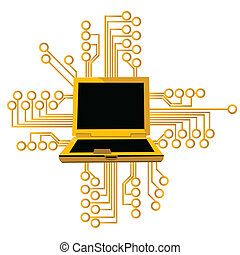computer circuit - Illustrative representation of a laptop...