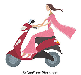 indian scooter ride - Woman riding a motor scooter