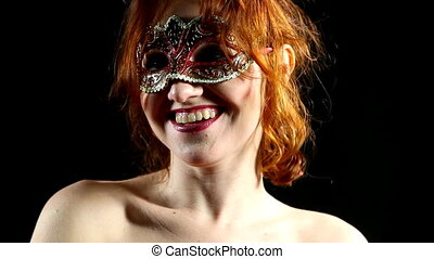 Red Woman in mask - emotions