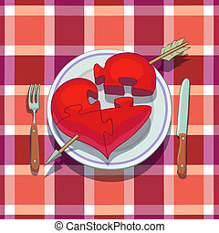 Valentines Day Lunch: heart with arrow is placed on plate...