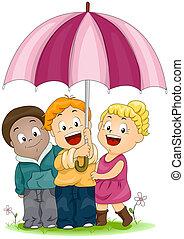 Umbrella - Illustration of Kids Sharing an Umbrella