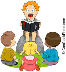 Bible Study - Illustration of Kids Having a Bible Study