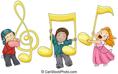 Musical Notes - Illustration of Kids Playing with Musical...