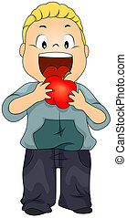Kid Eating Apple - Illustration of a Little Boy Eating a...