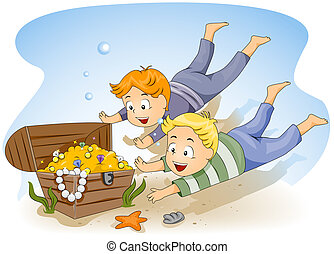 Sunken Treasure - Illustration of Kids Diving for Sunken...