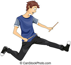 Teenage Drummer - Illustration of a Teenage Boy Playing with...