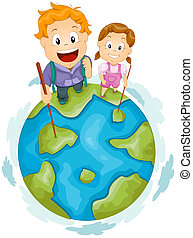Globe Hiker - Illustration of Little Hikers Standing at the...