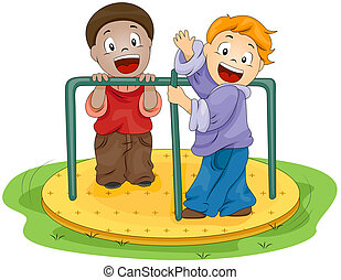 Merry-go-Round - Illustration of Kids Playing with the...