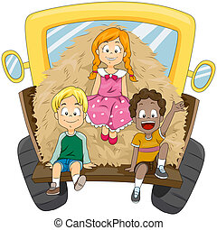 Farm Kids - Illustration of Kids Transporting a Load of Hay
