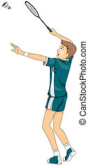 Badminton - Illustration of a Teenage Boy Playing Badminton