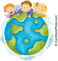 Earth - Illustration of Kids Playing on Top of a Huge Globe