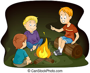 Campfire - Illustration of Kids Gathered Around a Campfire
