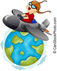 Around the World - Illustration of a Little Boy Operating a...