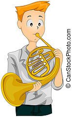 French Horn - Illustration of a Teenage Boy Playing the...